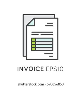 Vector Icon Style Illustration of Invoice paper bill letter for buyer or customer. Isolated simple concept