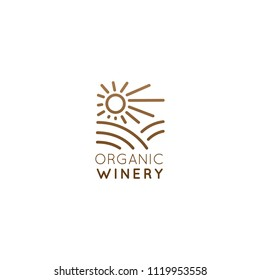 Vector Icon Style Illustration Logo of Organic Natural Winery or Wineyard, Quality Label or Badge for a Production Package or Bottle, Minimalistic Outline Concept with Field and Sun