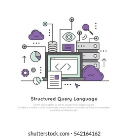 Vector Icon Style Illustration Logo of Structured Query Language SQL special-purpose domain-specific language
