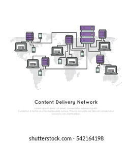 Vector Icon Style Illustration Logo of Content Delivery Network or Content Distribution Network CDN with Server and Users Laptop