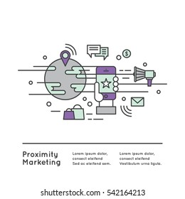 Vector Icon Style Illustration Logo of Proximity Marketing, Public Hot-Spot Zone Wireless Internet Wi-Fi Free. Sending messages, information and offers, Mobile phone notifications