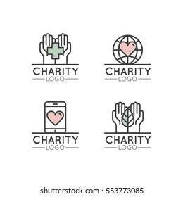 Vector Icon Style Illustration Logo Set for Nonprofit Organizations and Donation Centre. Fundraising Symbols, Crowdfunding and Charity Project Label