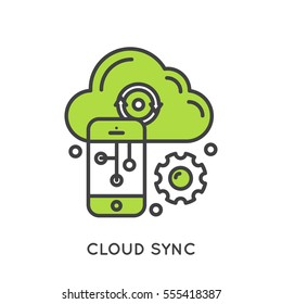 Vector Icon Style Illustration Logo of Cloud Sync and Data, Internet-based Computing with Shared Mobile Processing Resources, Shared Pool of Configurable Network