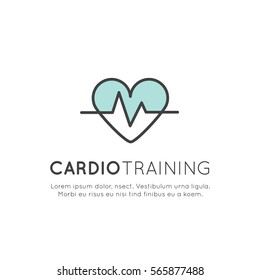 Vector Icon Style Illustration Logo of  cardio training, fitness and gym workout object. Healthy lifestyle, Bodybuilding and Heart beat pulse