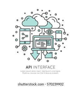 Vector Icon Style Illustration Logo of API Application Programming Interface with Laptop, Cloud Data