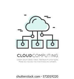 Vector Icon Style Illustration Logo of Cloud Sync and Data, Cloud Computing, Internet-based Shared Mobile Processing Resources, Shared Pool of Configurable Network