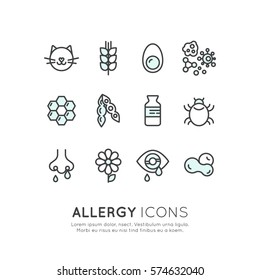 Vector Icon Style Illustration Logo Set Collection of Allergy, Food and Domestic Pet Intolerance, Skin Reaction, Eye and Nose Disease, Web Icons Isolated Collection