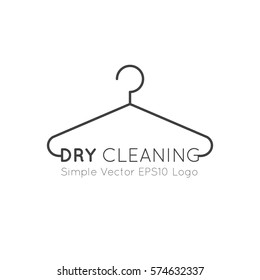 Vector Icon Style Illustration Logo of Dry Cleaning and Laundry Service Company, Minimalistic Simple Hanger Outline Picture with Rounded Text Font, Isolated Symbol for Web, Mobile App, Visual Identity