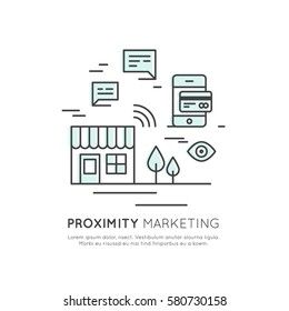 Vector Icon Style Illustration Logo of Proximity Marketing, Public Hotspot Zone Wireless Internet Wi-Fi Free. Sending messages, information and offers to users, Mobile phone notifications