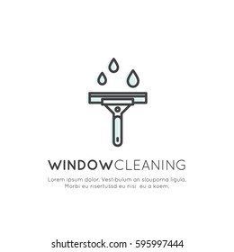 Vector Icon Style Illustration Logo of Window Cleaning Service, Glass Washing, Isolated Label for Household Company