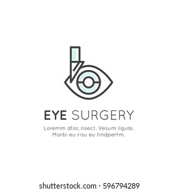 Vector Icon Style Illustration Logo of Eye Surgery, Diagnostic Treatment Professional Lab or Clinic, Isolated Minimalistic Object