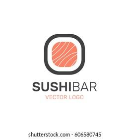 Vector Icon Style Illustration Logo of Asian Street Fast Food Bar or Shop, Sushi, Maki, Onigiri Salmon Roll with Chopsticks, Isolated Minimalistic Object