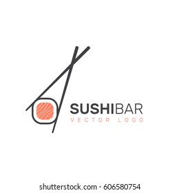 Vector Icon Style Illustration Logo of Asian Street Fast Food Bar or Shop, Sushi, Maki, Onigiri Salmon Roll with Chopsticks, Isolated Minimalistic Object