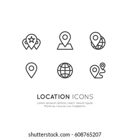 Vector Icon Style Illustration Logo Set of Geo Location Tag, Proximity, Global Network Connection, Location Identification, Isolated Minimalistic Object