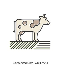 Vector Icon Style Illustration Logo for Organic Vegan Healthy Shop or Store. Cow on the Green Field, Farmer Market Countryside