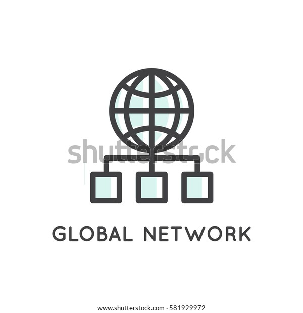 Vector Icon Style Illustration Logo Set of Web, Mobile and App Development tools and processes, Global Network, Storage, Hosting and Mapping, Link, Connection, Isolated Simple Web Symbol