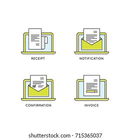 Vector Icon Style Illustration of Notification, Confirmation Email, Receipt and Invoice, Isolated Elements