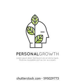 Vector Icon Style Illustration of Self Development, Education, Personal Growth Concept, Isolated Minimalistic Object