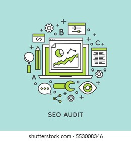 Vector Icon Style Illustration of Seo Audit and Website Conversion Rate Improvement Process