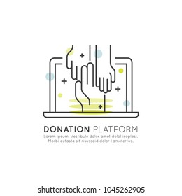 Vector Icon Style Illustration Set of Graphic Elements for Nonprofit Organizations and Donation Centre. Fundraising, Crowdfunding Project Label, Charity Logo, Cooperation, Volunteer, Support Africa