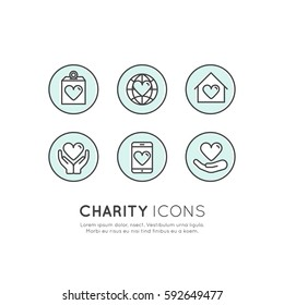 Vector Icon Style Illustration Set of Graphic Elements for Nonprofit Organizations and Donation Centre. Fundraising Symbols, Crowdfunding Project Label, Charity Logo