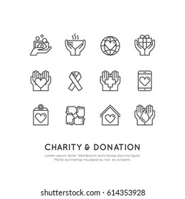 Vector Icon Style Illustration Set of Graphic Elements for Nonprofit Organizations and Donation Centre. Fundraising Symbols, Crowdfunding Project Label, Charity Logo, Cooperation, Volunteer, Support