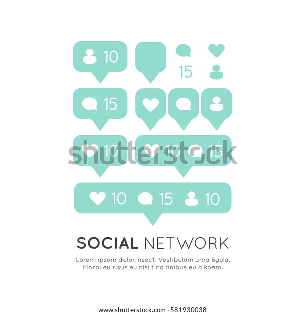 Vector Icon Style Illustration Set of Bubble Notification for Following Website or Blog, Social Network and Media Symbols
