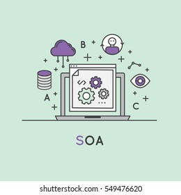 Vector Icon Style Illustration of SOA Service Oriented Architecture
