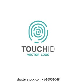 Vector Icon Style Illustration of Touch Id Fingerprint Scanning, Secure Access, Isolated Logo