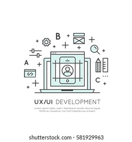 Vector Icon Style Illustration of UX UI User Interface and User Experience Process