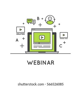 Vector Icon Style Illustration of Webinar and Presentation Video Live Stream