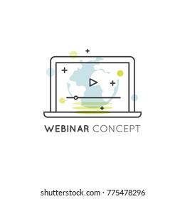 Vector Icon Style Illustration of Webinar and Presentation Video Live Stream, Online Tutorial, Edication, Lesson Stream, Virtual Classroom