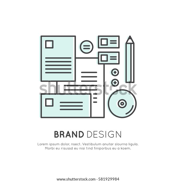 Vector Icon Style Logo Concept of Brand Design, Visual Identity, Company Merchandise Set, Isolated Linear Design