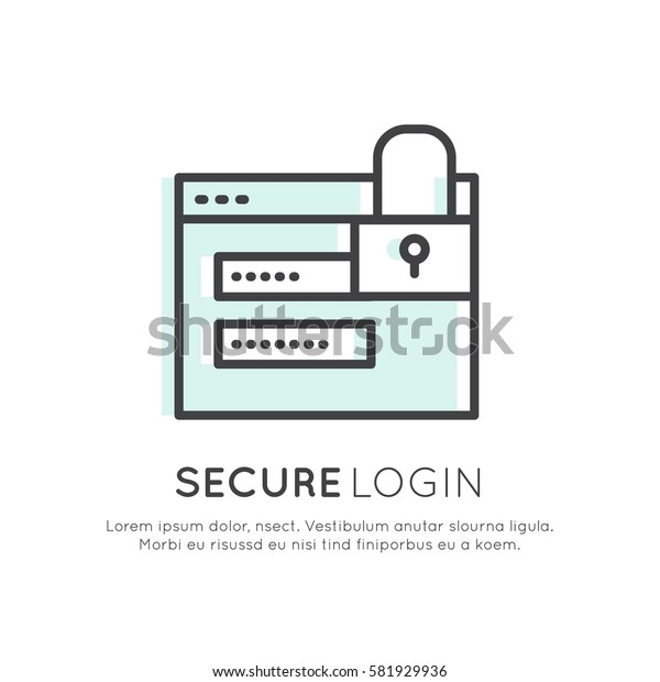 Vector Icon Style Logo of Cuber Security, Secure Access, Payment, Login, Encrypted Communication, Network Protection and Privacy, Isolated Linear Design