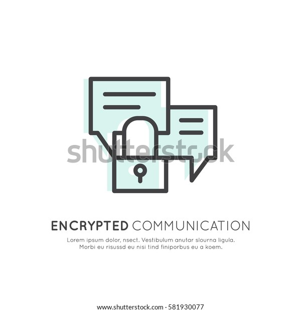 Vector Icon Style Logo of Cuber Security, Secure Access, Encrypted Communication, Network Protection and Privacy, Isolated Linear Design