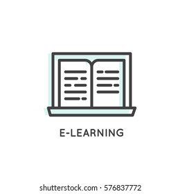 Vector Icon Style Logo of E-learning, internet education and online book, Isolated Linear Design