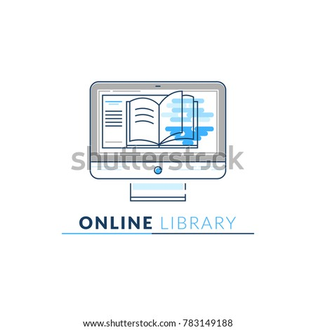 Vector Icon Style Logo Online Library Stock Vector (Royalty Free
