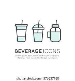 Vector Icon Style Logo Set of Smoothie, Hot Drink, Chocolate, Tea, Soft Drink, Juice, Water in Jar, Plastic Cup, Paper Cup, Isolated Linear Design Collection
