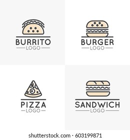 Vector Icon Style Logo Set of Simple Cartoon Fast Food Items, Hot Dog, Wrap, Pizza, Burrito and Sandwich, Burger, Isolated Linear Design Collection
