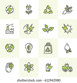 Vector Icon Style Logo Set of environment, renewable energy, sustainable technology, recycling, ecology solutions. Website, mobile app design, electric car, bio technology, package, solar power