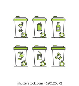 Vector Icon Style Logo Set Design of environment, renewable energy, sustainable technology, recycling, ecology solutions. Icons for website, mobile app design, Trash Waste Bin Separation