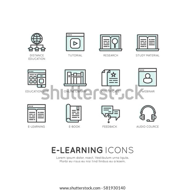 Vector Icon Style Logo Set of E-learning services, online education, support, webinar, presentation, e-book, certificate, feedback, Isolated Linear Design Collection