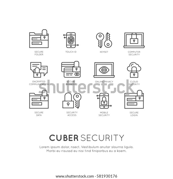 Vector Icon Style Logo Set of Cuber Security, Secure Access, Network Protection and Privacy, Isolated Linear Design