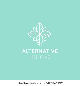 Vector Icon Style Logo Sign of  Alternative Medicine. Vitamin Therapy, Anti Age, Wellness, Ayurveda, Chinese Medicine. Holistic centre. Green Energy Mandala
