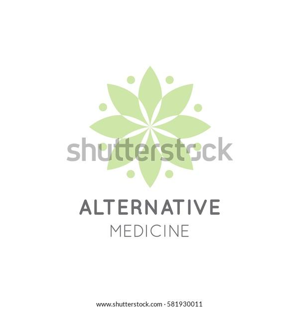 Vector Icon Style Logo Sign of  Alternative Medicine. Vitamin Therapy, Anti Age, Wellness, Ayurveda, Chinese Medicine, Holistic Centre, Green Energy Mandala