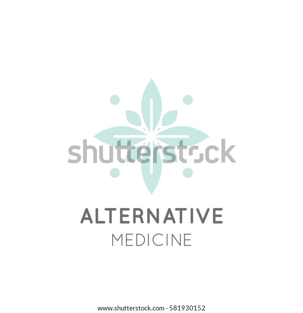 Vector Icon Style Logo Sign of  Alternative Medicine. Vitamin Therapy, Anti Age, Wellness, Ayurveda, Chinese Medicine, Holistic Centre, Green Energy Mandala