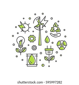 Vector Icon Style One page Web Design Template with thin line icons of environment, renewable energy, sustainable technology, recycling, ecology solutions. Icons for website, mobile app design