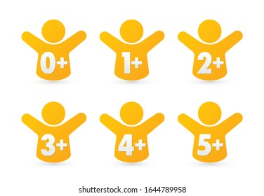 Vector icon suitable for children: 0+, 1+, 2+, 3+, 4+, 5+. Isolated on white background.