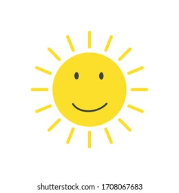 Vector icon of the sun. Emoticons of the sun smile.