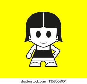 Vector Icon Super Hero Character Isolated. Girl pictogram. Vector
